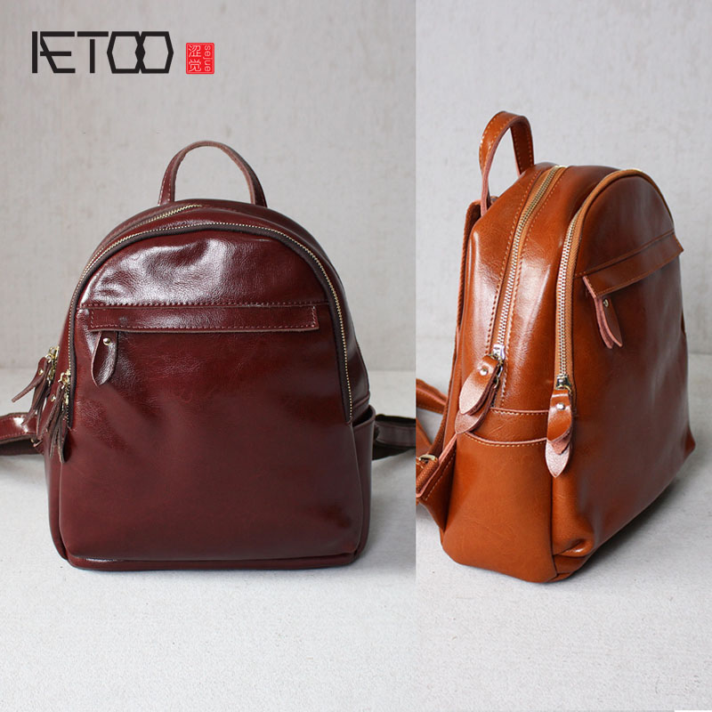 AETOO Leather new female ipad backpack shoulder bag leather Japan and South Korea simple fashion leisure school wind simple bag aetoo summer new shoulder bag women japan and south korea version of the pu backpack female tide fashion simple casual mini bag