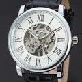 2016 sewor moda fresca de negocios de cuero para hombre esqueleto hombres mecánicos mano del viento militar reloj de pulsera de regalo deporte de lujo del reloj