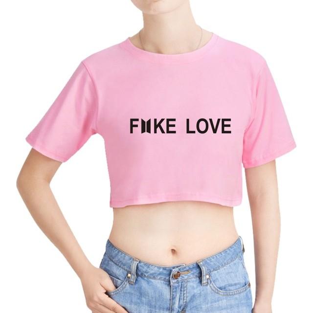 d52ca21fe4d2 2018 new bts crop top fake love kpop clothes funny women t-shirts oversized  ulzzang harajuku kawaii tops tshirt roupas feminina