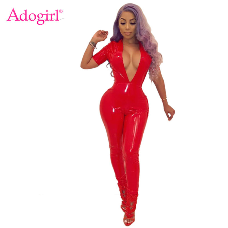 Adogirl Solid Fleece PU Leather Jumpsuit Women Rompers Sexy Deep V Neck Short Sleeve Elastic Overalls Night Club Outfits Jumper