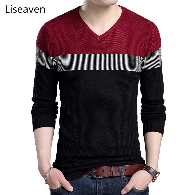 Liseaven Sweaters Men's Clothing Stylish Men Sweater V-Neck Full Sleeve Pullovers