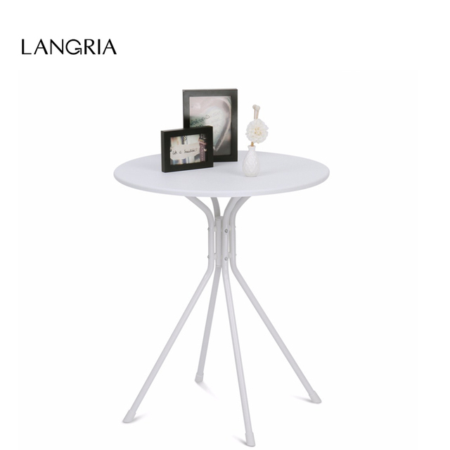 Langria Modern White Round Coffee Tea Side Sofa Table With Splayed