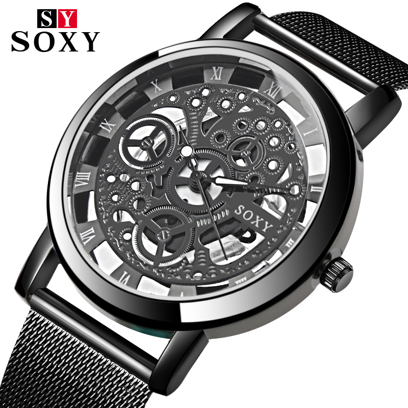 цена на SOXY Skeleton Watch Men Wrist Watch Mens Watches Top Brand Luxury Men's Watch Full Steel Clock relogio masculino erkek kol saati