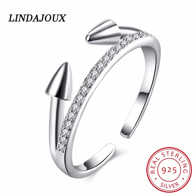 925 Sterling Silver Jewelry Bullet Open Ring Fashion Inlay Crystal
