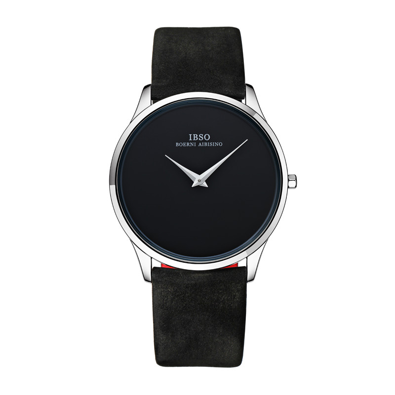 2015 Selling Brand IBSO BOERNI AIBISINO Unisex Ultra Thin Round Dial Analog Wrist Watch with Waterproof & Leather Band 2219 natate ibso women quartz watch crystal decorated large round dial analog wrist watch with waterproof woman leather band s3819