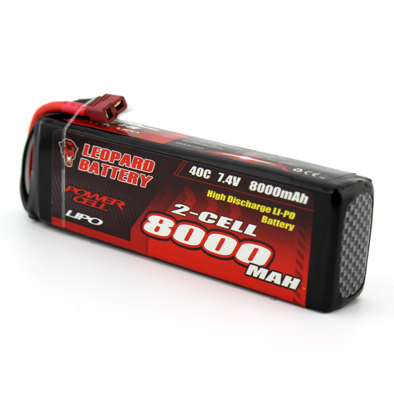 High Quality LEOPARD Power 7.4V 8000mAh 40C 2S For TRX Plug Lipo Battery for TRAXXAS SUMMIT RC Car Models zop power 7 4v 8000mah 2s 40c lipo battery rechargeable for trx plug connector battery alarm indicator traxxas rc multicopter