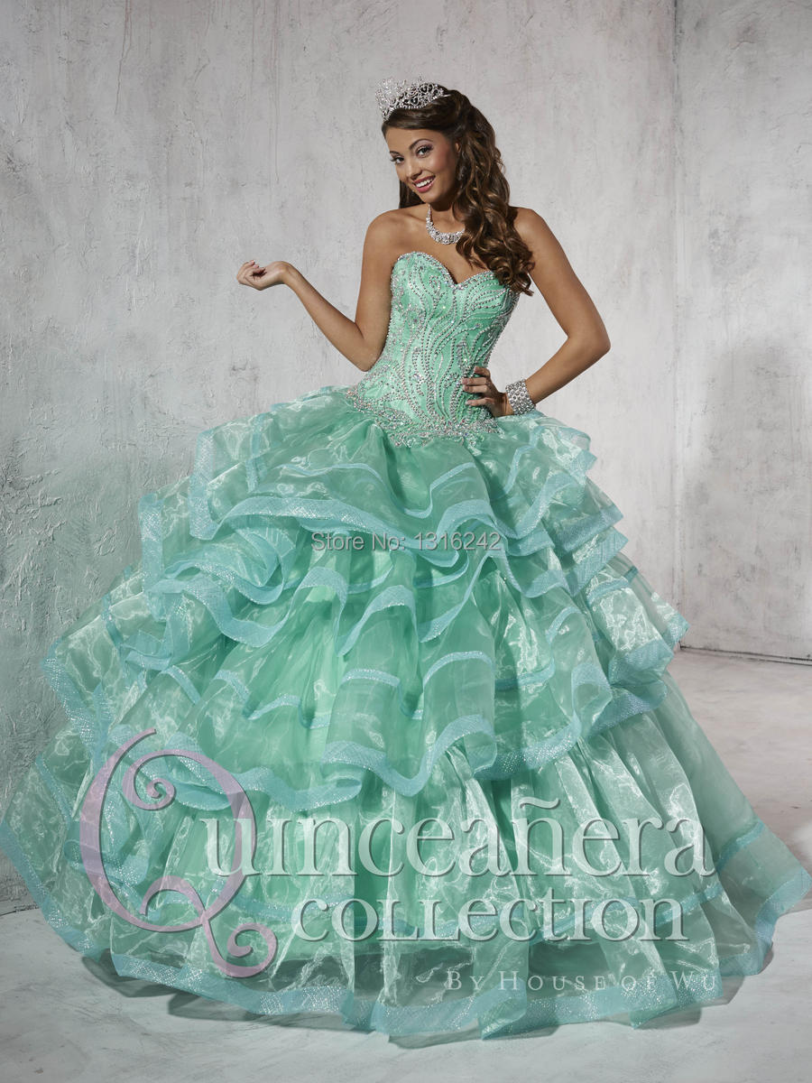 Vintage Lime Green Quinceanera Dress WIth Crystal Beading Women ...