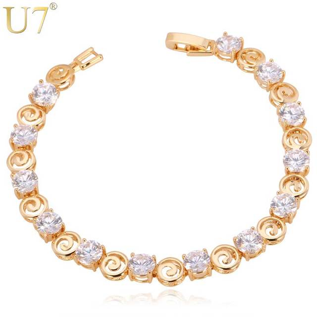 U7 Crystal Bracelet Vintage Trendy Silver/Gold Color Cubic Zirconia Jewelry Bridesmaid Gift Tennis Bracelets For Women H507