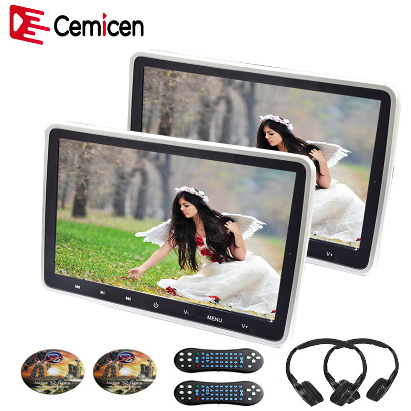 Cemicen 2PCS 10 1 Inch Touch Button Car Headrest Monitor DVD Video Player USB SD HDMI