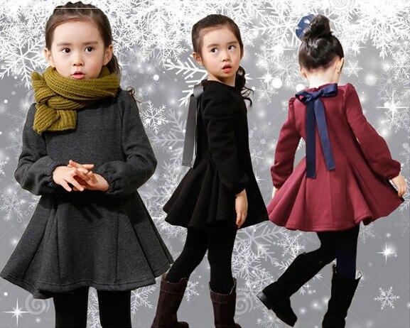 2018 детская одежда для девочек зимнее платье потепления добавить шерсть Симпатичные принцессы одежда с длинным рукавом платья Vestidos детская ...