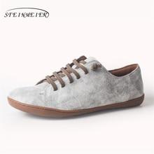 النساء حذاء مسطح جلد طبيعي بيرفوت حذاء كاجوال امرأة الشقق الباليه أحذية رياضية الإناث الأحذية الربيع 2020