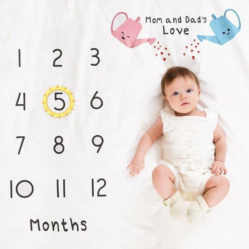 HTB1YL11XKL2gK0jSZPhq6yhvXXa1 Cartoon Infant Portray Blanket Milestone Photo Props Background Blankets Baby Play Mats Backdrop Calendar Photo Accessories