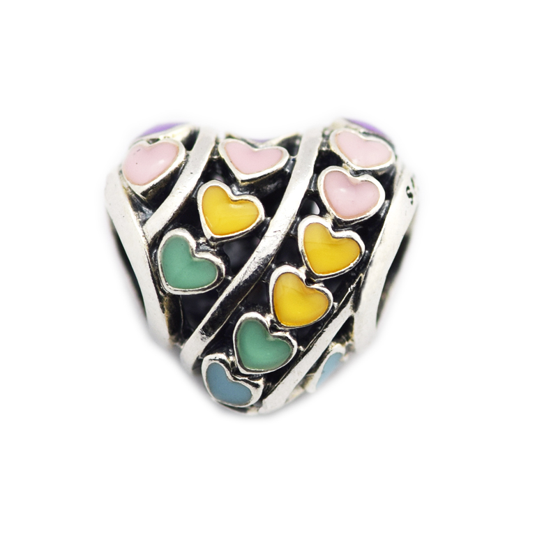 Fits for Pandora Charms Bracelets Multi-Color Hearts Beads with Mixed Enamel New 100% 925 Sterling Silver Jewelry Free Shipping