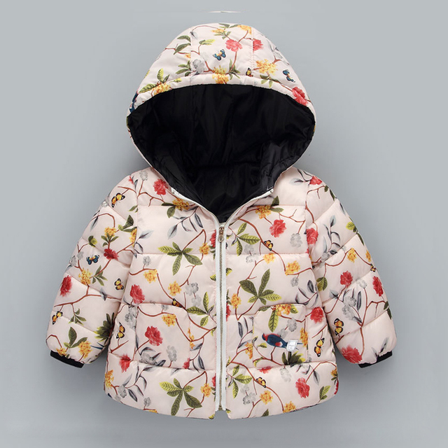 ccd7fb9c4 Fashion Winter Jackets for Girls Printed Flowers Kids Coat Warm ...
