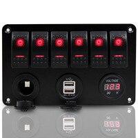 New 6 Gang Red LED Rocker Switch Dual USB Voltmeter Power Socket Panel Universal For Car