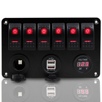 New 6 Gang Red LED Rocker Switch Dual USB Voltmeter Power Socket Panel Universal For Car