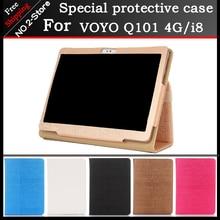 Moda 2 fold Folio PU del soporte del cuero funda para VOYO Q101 4G/i8 llamada de teléfono de 10.1 pulgadas tablet pc Multi-color opcional + regalo