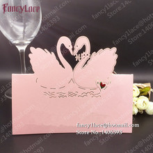 50PCS New Design Swan Wedding Table Card Seat Card, High Quality Laser Cut Lace Invitation Paper Craft Party Favors