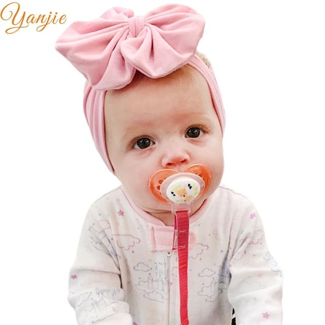 1PC 5   Big Floppy Bow Headband For Girls Solid Large Cotton Hair Bows  Elastic Headbands Kids Turban Hair Band Hair Accessories 6675def7038