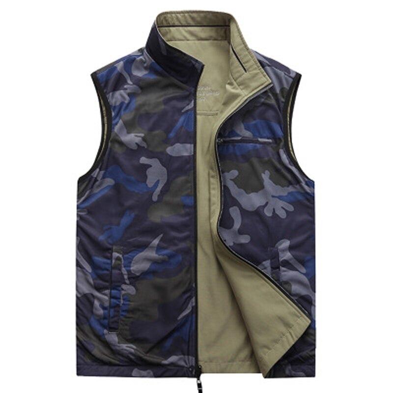Green Camo Doublure Armée army M Khaki porter Double Multi Hommes Automne Col Vert 2018 Blue Gilet deep poches 7xl Montant Coton Homme qwHxFtI