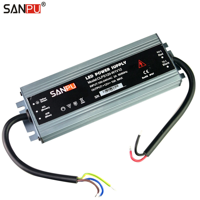 SANPU 12VDC Waterproof LED Power Supply 12V DC 120W 10A IP67 110V 220V AC-DC Lighting Transformer Driver Thin Slim Aluminum new new led strip power supply 110v 220v 264 v to 12v 10 a led driver ip67 waterproof ultra thin led light transformer 120w