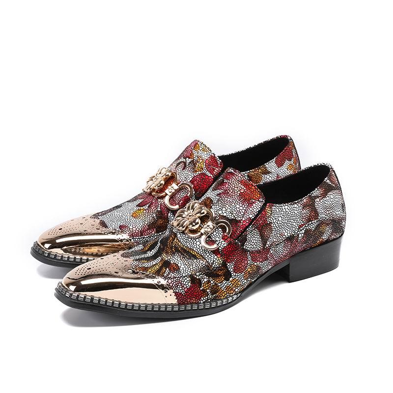 Hommes Mode Flower Métal Bout Up Show Dressing Chaussures Errfc De Charme Rouge Arrivée Nouvelle Bateau 46 Décontracté Mocassins Personnalisé nSxpqpt8aw