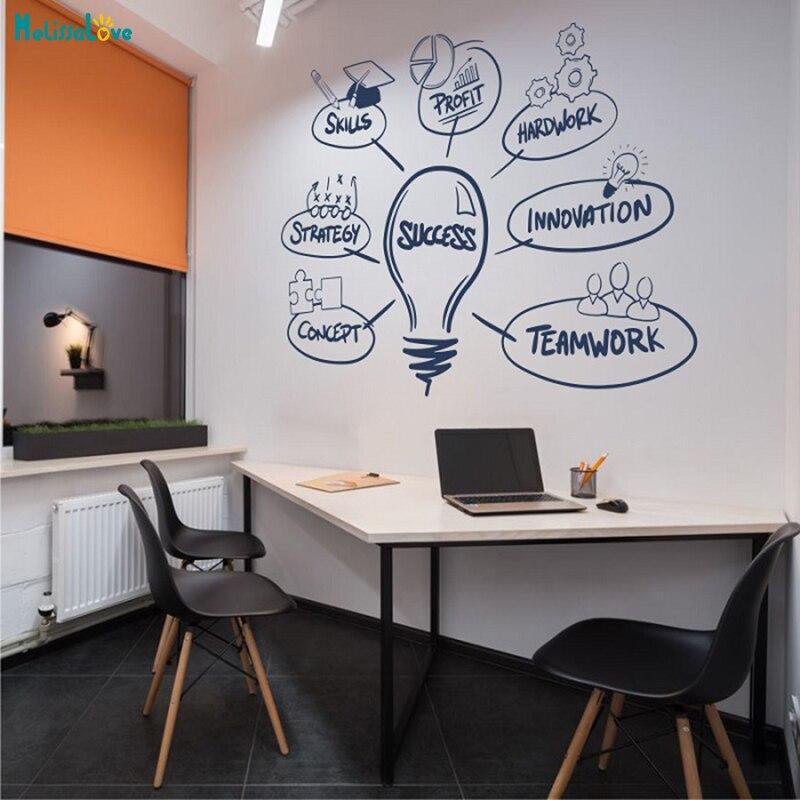 Bureau inspirant succès lettrage mots mur autocollant vinyle mot décoration de la maison pour salon amovible Art peintures murales YT528