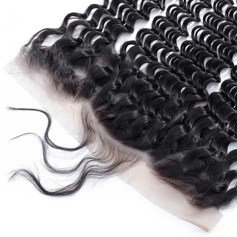 Мобок монгольский глубокая волна 13*4 кружева фронтальной бесплатно/средний/три части Швейцарский синтетический фронтальный натуральный цвет No-Remy 100% человеческих волос