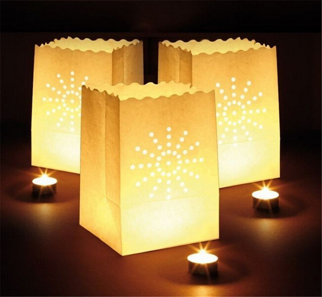 1500pcs Flame Ant Paper Candle Bag Luminary Bags Lantern For Wedding Party Decorations