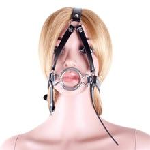 Black Leather Bondage Gag Head Harness Mouth Gag Adjustable Lockable Belt Slave Training Bondage Adult Sex Games For Couples