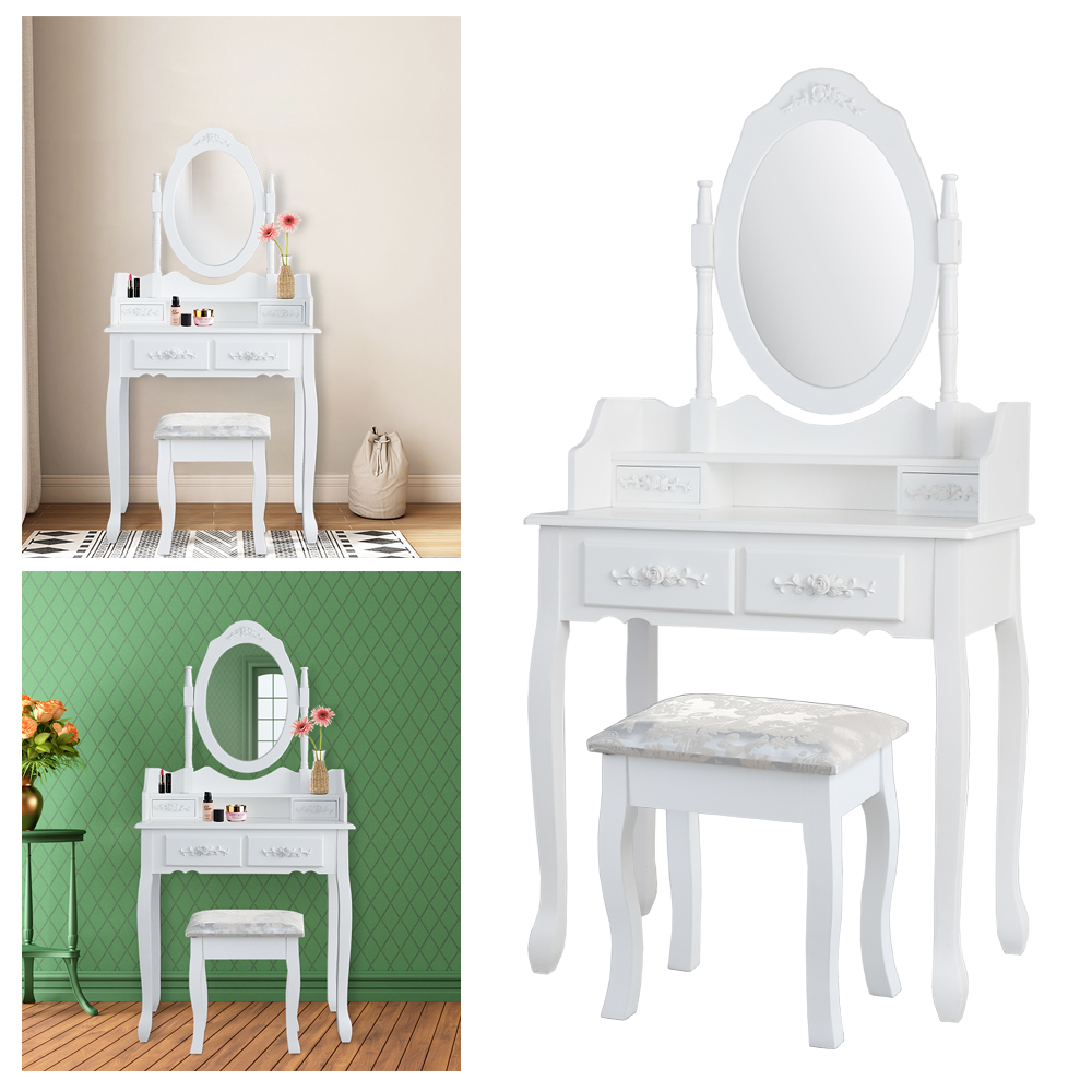 Dressing Table Makeup Desk Dresser 1 Mirror 4 Drawers European bedroom furniture make-up mesa Bedroom penteadeira with stool ship from germany makeup dressing table with stool 7 drawers adjustable mirrors bedroom baroque style