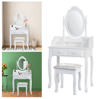 Dressing Table Makeup Desk Dresser 1 Mirror 4 Drawers European bedroom furniture make up mesa Bedroom penteadeira with stool