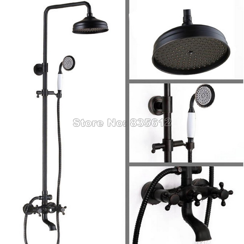 Black Oil Rubbed Bronze Bathroom Rainfall Shower Faucet Set with Dual Handles Tub Mixer tap + 8 inch Shower Head Wrs020