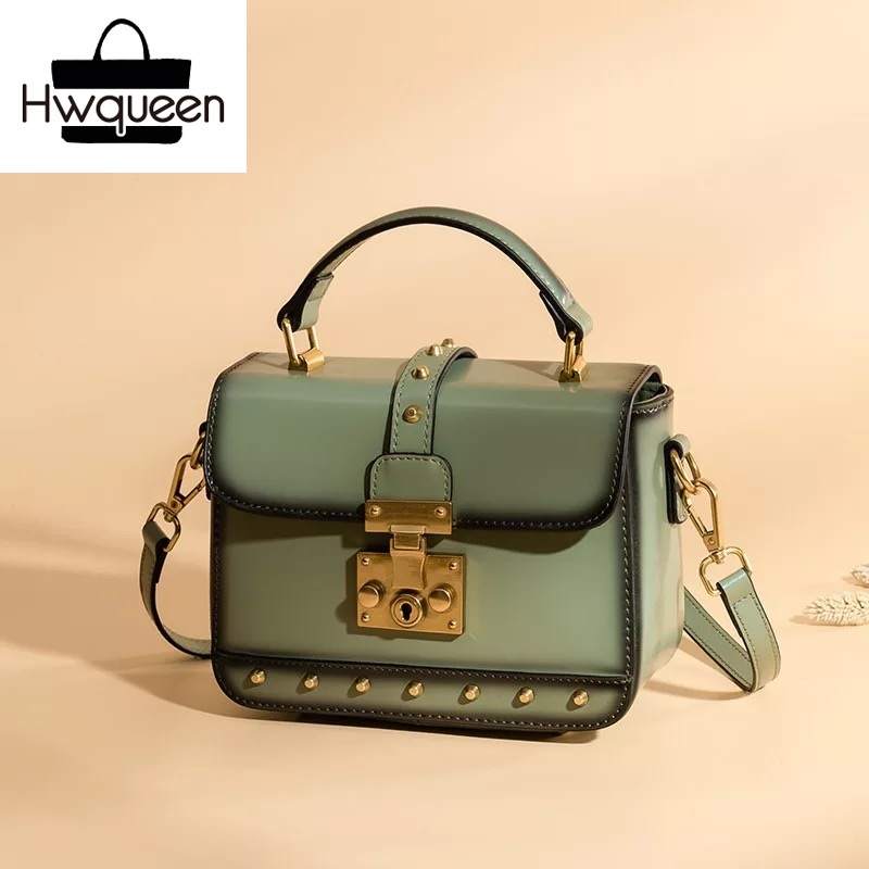 Luxury Design Women Metal Lock Closure Flap Purse Genuine Leather Female Studs Shoulder Bag Cowhide Lady Small Rivets Handbag