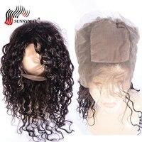 Sunnymay шелк база предварительно сорвал 360 кружева фронтальной Малайзии девственные вьющиеся волосы распущены кружева фронтальной с ребенком