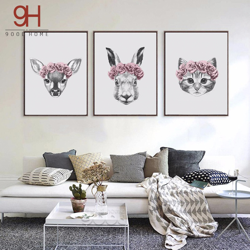 Hand draw animals art print print painting poster wall for Rabbit decorations home