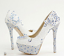 White lace bridal shoes high with flowers Round blue diamond wedding shoes Waterproof fine with butterfly singles shoes