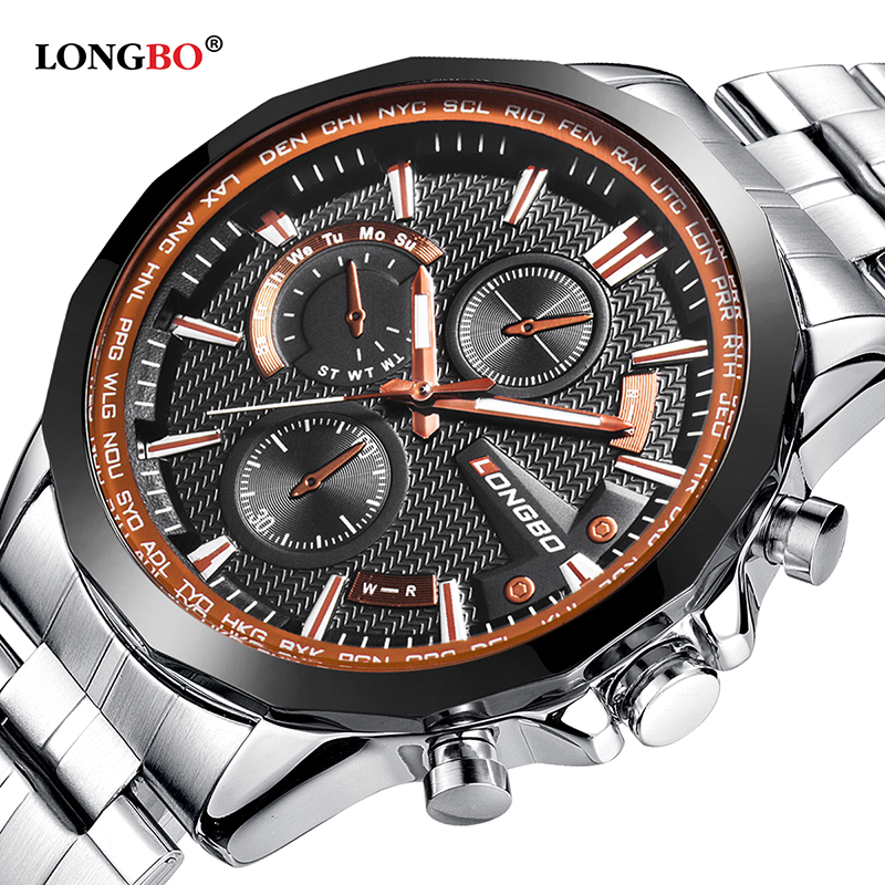2017 Luxury Brand Longbo Watches For Men Gold Simple Big Dial Wrist Watch Men's Bracelet Gift Dropshipping relojes hombre 80235 longbo 2017 big promotion watches clock for men women gentl ladies stainless steel wristwatches with big face dial dropshipping