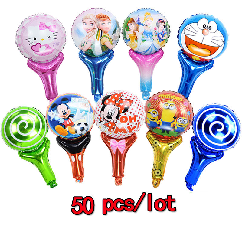 50pcs/lot Cartoon Princess Mickey Mixed Sticks Foil Balloons kitty air-filled cheering ballons birthday party decorations kids