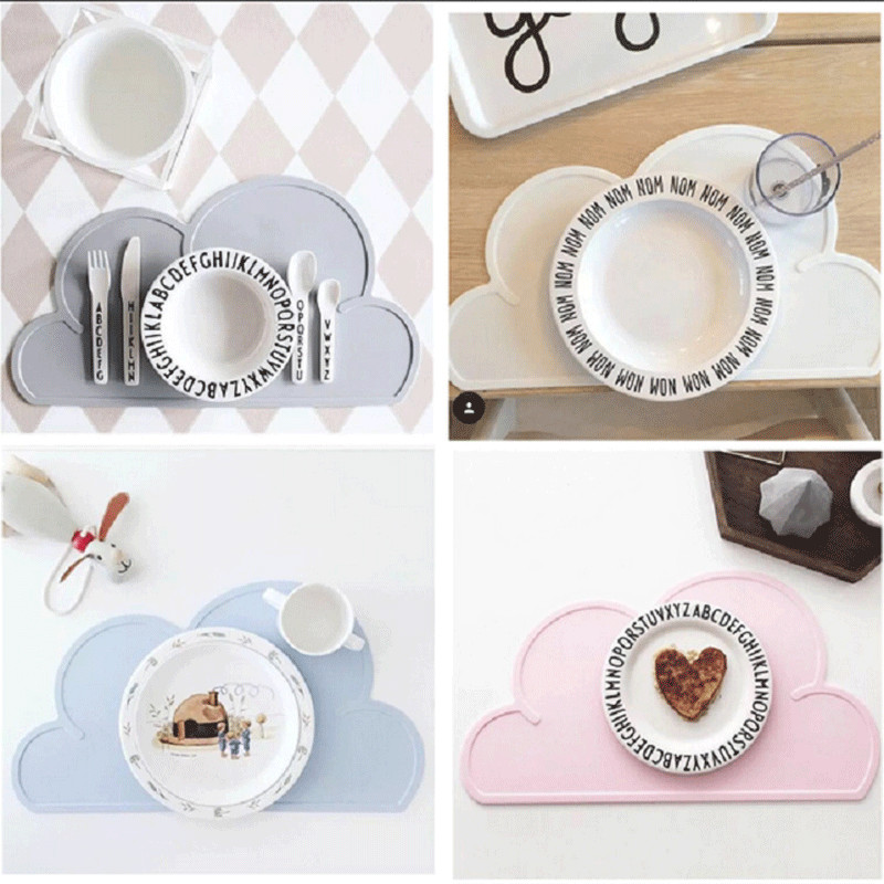 47x27cm Silicone Placemat Mat Baby Kids Cloud Shaped Plate Mat Table Mat BPA Free Waterproof Set Home Kitchen Pads