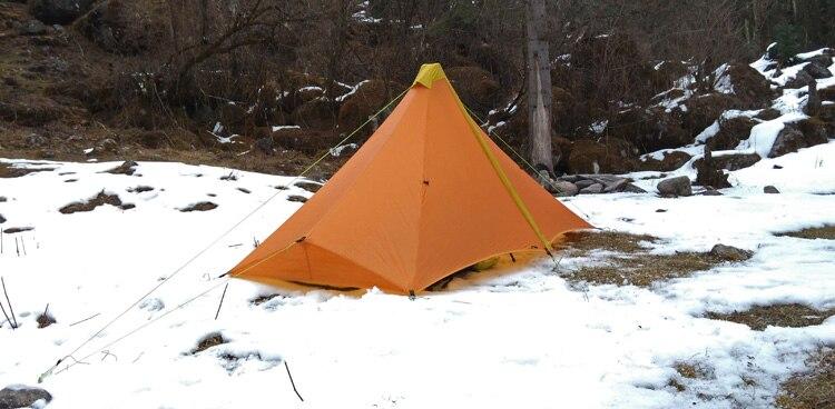 Сверхлегкий 1 человека 410 г палатка открытый 20D нейлон с обеих сторон силиконовое покрытие бесштоковый пирамиды открытый зелт 4 сезона палатка