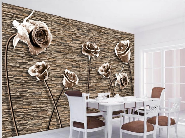 Novelty European Vintage Rose Brick Stone Wall Murals Photo