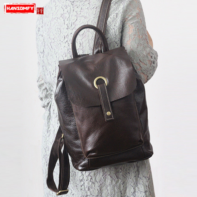 HANSOMFY New fashion women's shoulder bag female Korean version of the trend of the first layer of leather casual backpacks qiaobao 2018 new korean version of the first layer of women s leather packet messenger bag female shoulder diagonal cross bag