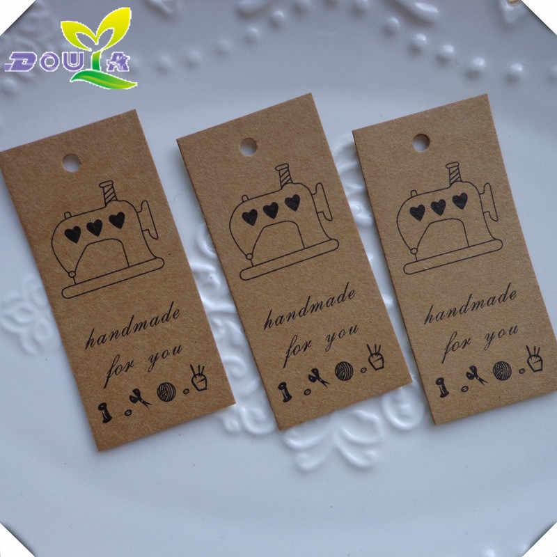 레트로 재봉틀 손으로 만든 수제 펜던트 선물 상자 베이킹 선물 장식 라벨 카드