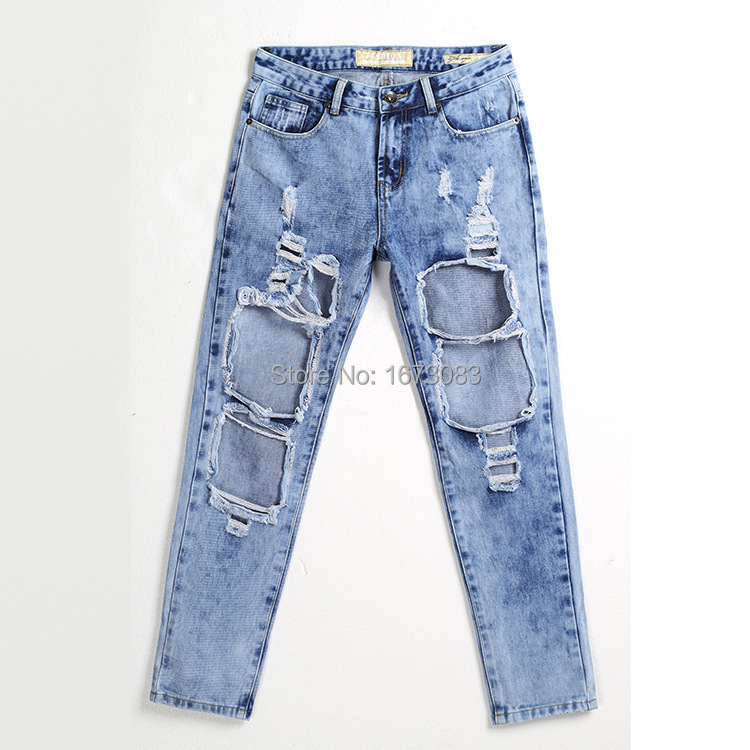 Women's Clothing Bottoms Guuzyuviz Vintage Casual Autumn Winter Jeans Woman Scratched Washed Cotton High Waist Patch Work Denim Pants Mujer Strong Packing