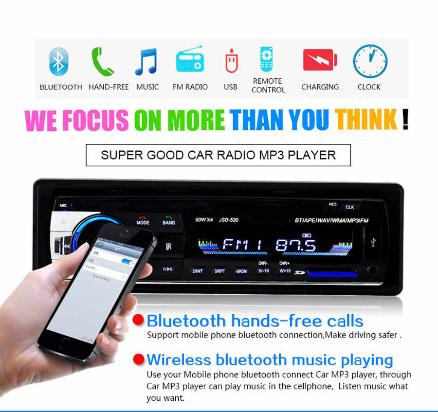 Autoradio JSD 520 1din カーラジオ 12 V Bluetooth ステレオ FM Aux SD USB MP3 MMC WMA プレーヤー自動車 1 din