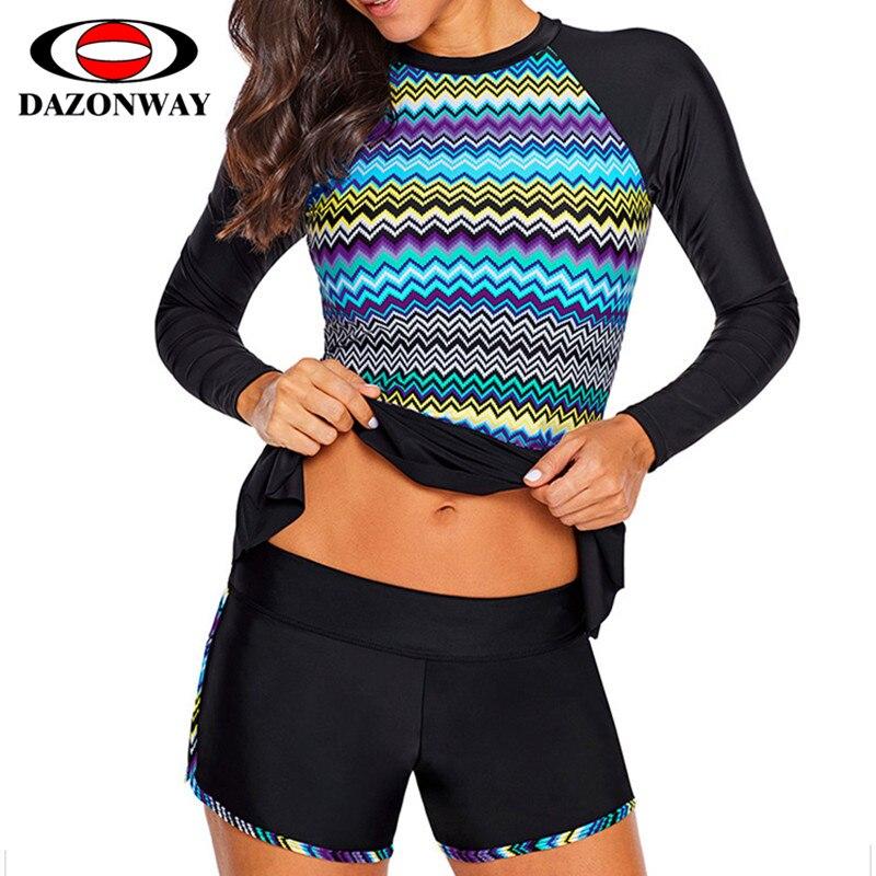 Femme Split maillot de bain de surf À séchage Rapide Solaire combinaisons de plongée Méduses Multicolore Impression à manches longues grande taille maillot de bain à découpe