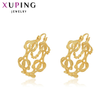 11.11 Xuping Luxury Earring Big Valentine's Gift  Gold Color Plated Romantic Charming Hoop Earrings Jewelry High Quality 28937