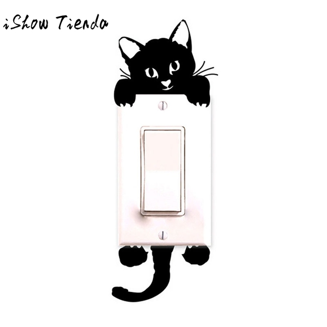 DIY Funny Cute Cat Wall Stickers Light Switch Decor Decals Art Mural Baby Nursery Room Home Decoration Bedroom Parlor Decoration
