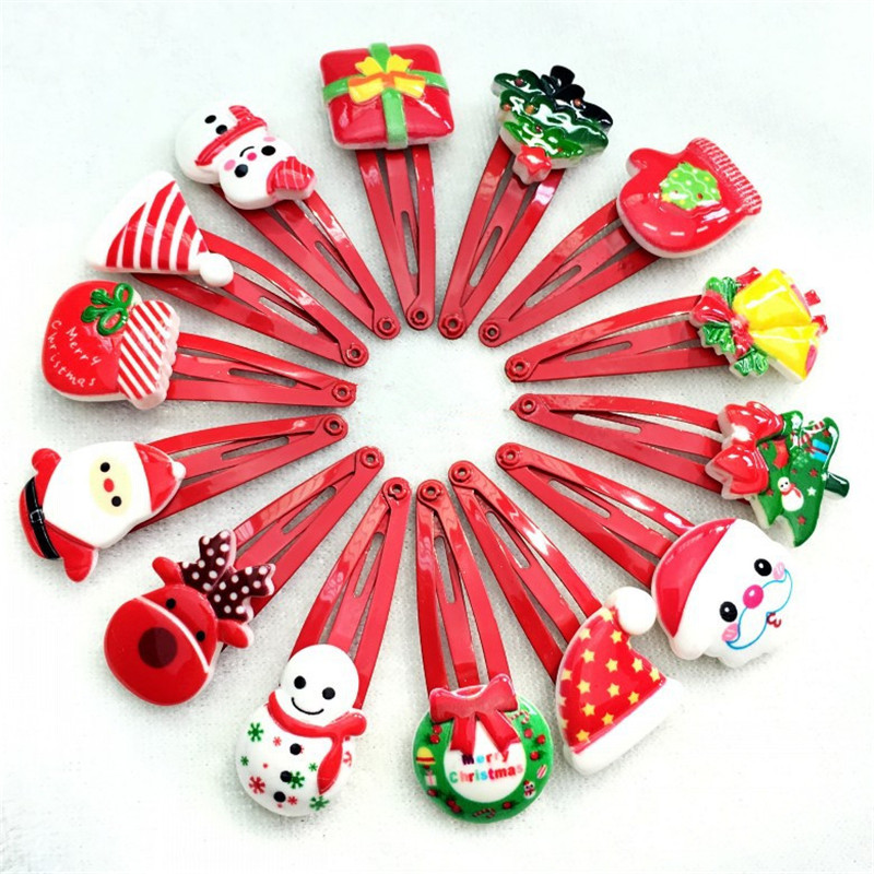 Korean Hairclips Cute Flower Hair Accessories Resin Cartoon Kids Headdress Red Handmade Hairpins for Girls 10Pcs